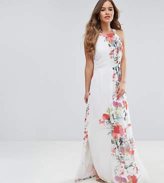 Yumi Petite Floral Placement Print Maxi Dress