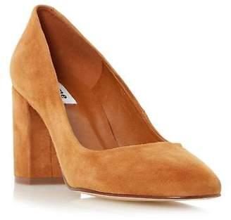Dune Ladies ABELL Block Heeled Round Toe Court Shoe in Tan Size UK 8