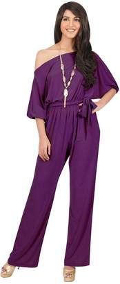 Koh Koh Petite Womens One Shoulder Short Sleeve Sexy Wide Leg Long Pants One Piece Jumpsuit Jumpsuits Pant Suit Suits Romper Rompers Playsuit Playsuits, S 4-6
