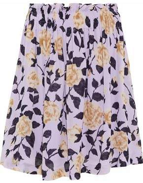 Ganni Carlton Gathered Floral-Print Georgette Skirt