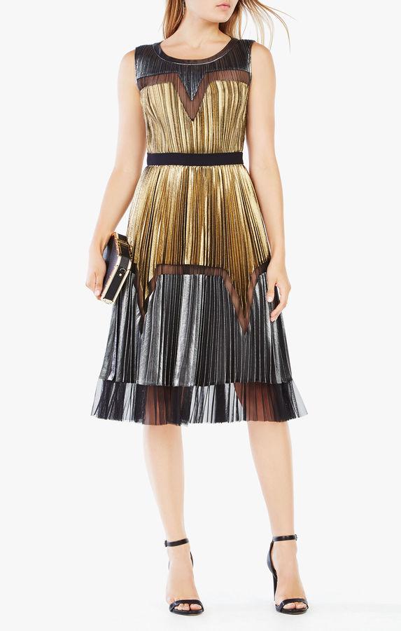BCBGMAXAZRIALucea Pleated Metallic Dress