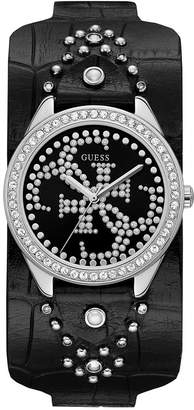 GUESS Women's Black Studded Leather Cuff Watch 36.5mm