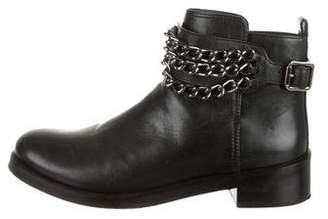 Tory Burch Leather Round-Toe Ankle Boots