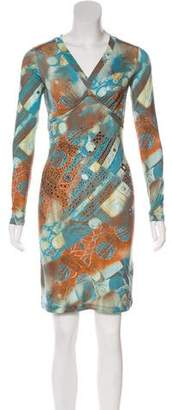 Blumarine Embellished Long Sleeve Dress