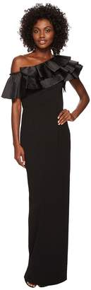 Adrianna Papell Dramatic One Shoulder Long Crepe Gown Women's Dress