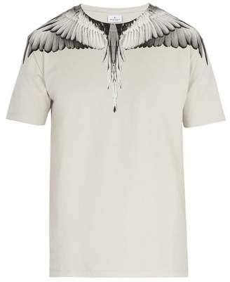 Marcelo Burlon - Double Wing Print Cotton T Shirt - Mens - Light Grey