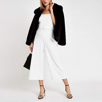 River Island White belted wide leg jumpsuit