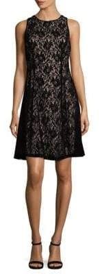 Maggy London Velvet Lace Fit-&-Flare Dress
