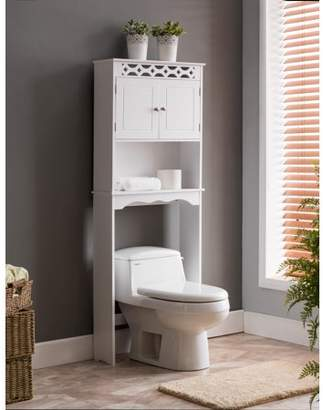 Pilaster Designs Tosia White Wood Contemporary Over The Toilet Etagere Bathroom Rack With Storage Cabinet & Shelf