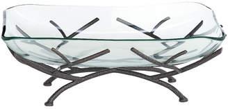 Uma Enterprises Traditional Glass Bowl With Iron Stand