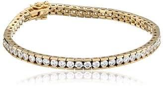 Swarovski Platinum or Gold-Plated Sterling Silver Zirconia Round Tennis Bracelet