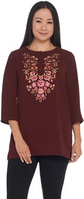 Linea By Louis Dell'olio by Louis Dell'Olio Crepe Gauze Top with Embroidery