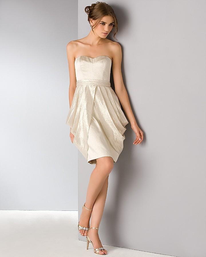 Badgley Mischka Platinum Label Lamé Strapless Dress with Tulip Hem
