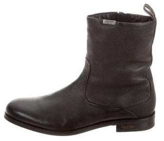 Calvin Klein Collection Grained Leather Ankle Boots