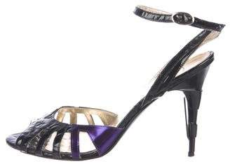 Just Cavalli Patent Leather Ankle Strap Sandals