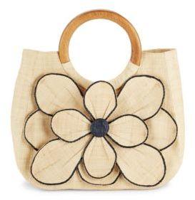 Guadeloupe Floral-Motif Straw Handbag $150 thestylecure.com