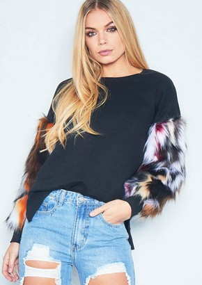 630176e21a Missy Empire Missyempire Nelly Black Multicoloured Faux Fur Sleeve Jumper