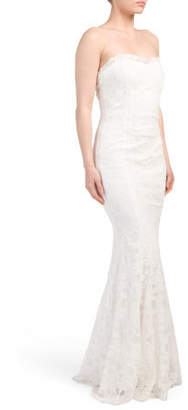 Made In USA Strapless Lace Gown
