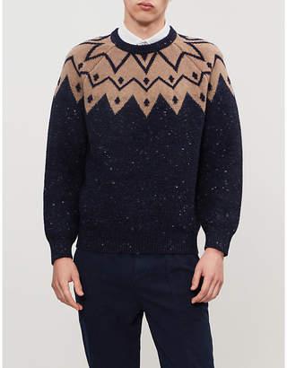 Brunello Cucinelli Geometric-pattern crewneck wool-blend jumper