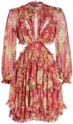 Zimmermann Melody Lace Up Silk Chiffon Mini Dress