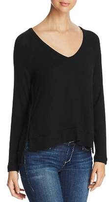 Three Dots Brushed Rib-Detail Sweater
