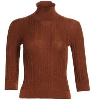 Loro Piana Lupetto Quercy Ribbed Cashmere & Silk Short-Sleeve Turtleneck
