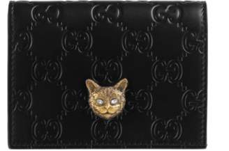 Gucci Signature card case with cat