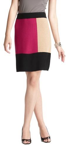 LOFT Petite Colorblock Sweater Skirt
