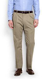 Lands' End Men's Pleat Front Comfort Waist No Iron Chino Pants-Classic Navy