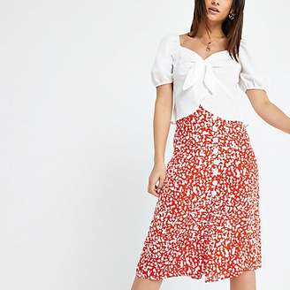 River Island Petite red print button midi skirt