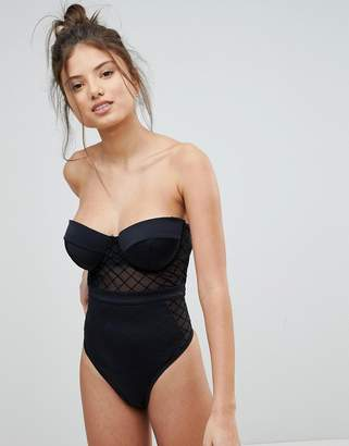 Asos Design DESIGN Fuller Bust diamond mesh cupped swimsuit