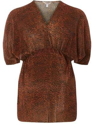 Dorothy Perkins Womens **Maternity Brown Leopard Print Plisse Top