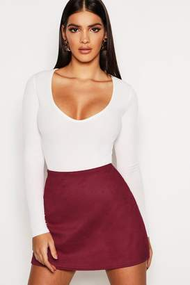 boohoo Bonded Suedette A Line Mini Skirt