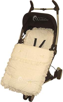 Silver Cross For Your Little One Broderie Anglaise Footmuff/Cosy Toes Compatible with Sleepover Cream