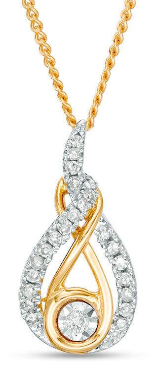 Zales Interwovena 1/6 CT. T.W. Diamond Pendant in Sterling Silver and 10K Gold - 19