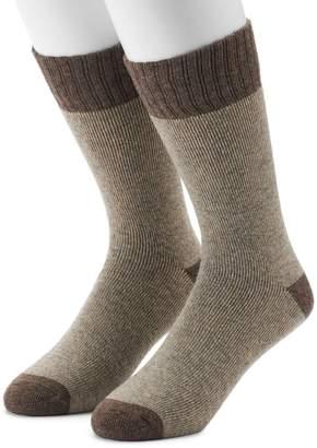 Croft & Barrow Men's 2-Pack Wool Blend Extended Size Boot Crew Socks