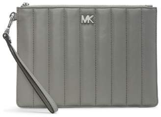 Michael Kors Flat Quilted Pearl Grey Leather Clutch Bag