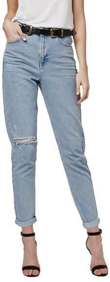 Topshop High Rise Ripped Mom Jeans (Regular & Petite)