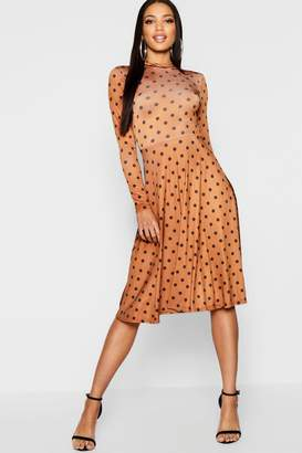 boohoo High Neck Long Sleeve Polka Dot Midi Dress