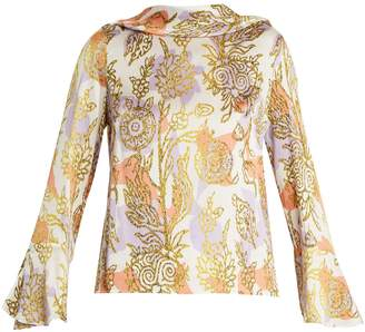 Peter Pilotto Roll-neck floral-print silk blouse