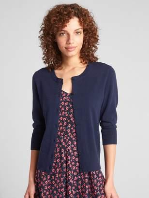 Gap Three-Quarter Sleeve Crewneck Cardigan Sweater
