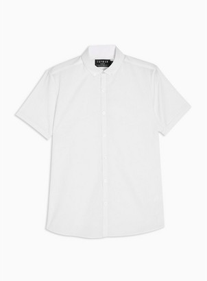 Topman Mens White Slim Fit Smart Short Sleeve Shirt
