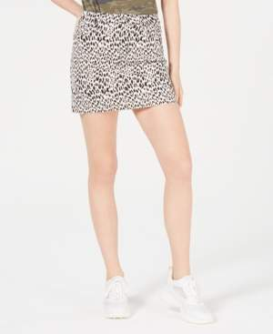 Tinseltown Juniors' Leopard-Print Denim Mini Skirt