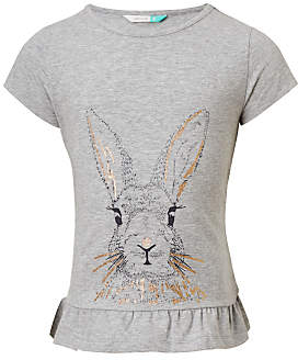 John Lewis Girls' Frill Hem Rabbit T-Shirt, Grey Marl