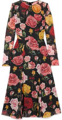 Dolce & Gabbana Floral-print Silk-blend Georgette Midi Dress - Black