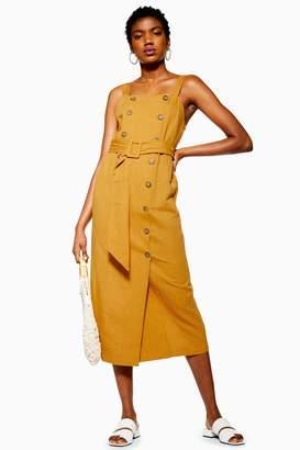 Topshop Linen Blend Belted Pinafore Dress