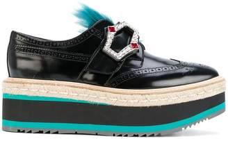 Prada jewelled raffia platform brogues