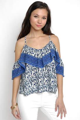 Juniper Blu Mixed Floral Border Print Ruffle Cold Shoulder Top