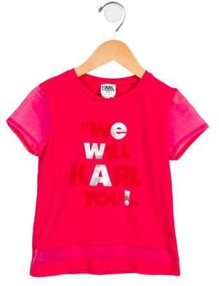 Karl Lagerfeld Girls' Sheer-Trimmed Printed Top