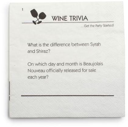 Sur La Table Wine Trivia Paper Cocktail Napkins